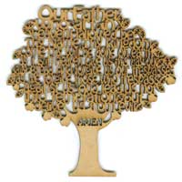 Lord's Prayer Laser Wood Tree Decoration