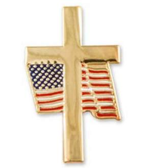Gold Cross and USA Flag Lapel Pin