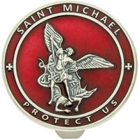St. Micheal's Red Enamel Protect Us Visor Clip