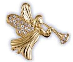 Pave Christmas Angel With Horn Lapel Pin