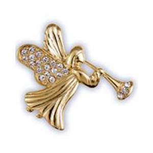 Pave Christmas Angel With Horn Pin