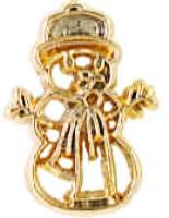 Snowman Pin Gold Outline