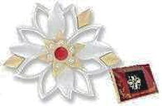 Silver Poinsettia Brooch Pin Christmas Pin