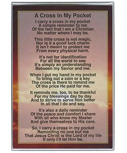 Gold Metal Pocket Cross on Sealed Cross Card