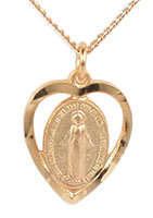Catholic Heart Pendant Medal Gold