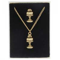 Gold Plated Communion Necklace Pin Set