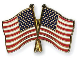 American flag pins double USA