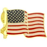 Waving American Flags Pin Gold Red White Blue