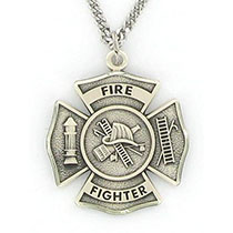 Sterling Silver FireFighter St Florian Necklace