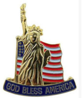 Liberty flag, God bless & ribbon pin