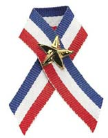 Red, White, Blue Ribbon and Gold Star Pin