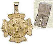 14K Gold Large Shield St Florian Fire Fighters Patron Pendant