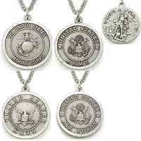 St. Michaels Sterling Silver Army, Marines, Navy Military Necklaces