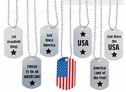 American Patriotic Dog Tag Necklace Youth