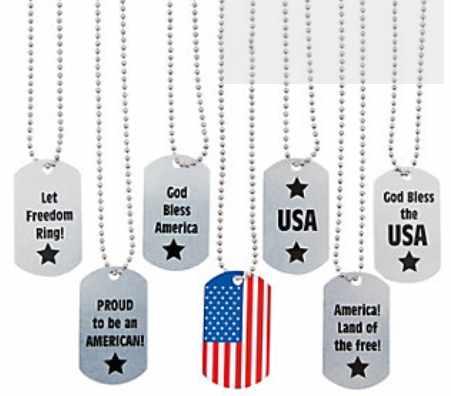 Youth Patriotic American Dog Tag Necklace