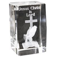 Crystal Etched Praying Hands Paperweight