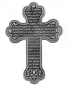 Lord's Prayer Wall Cross Pewter