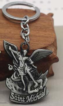 St. Michaels Policeman Key Chain Pewter