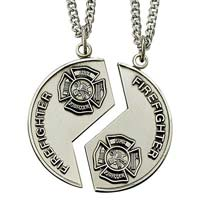 Sterling Silver Firefighter Mizpah Medal Necklace