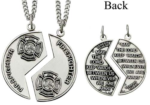 Silver firefighter mizpah medal necklace sterling silver firefighter mizpah medal necklace aloadofball Image collections