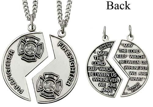 Sterling silver firefighter mizpah medal necklace aloadofball Choice Image