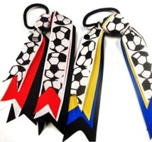Ponytail Tie with Soccer Print Layered Ribbons