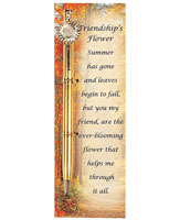 Friendship Flower Gold Pen and Bookmark Gift