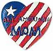 Mom Flag Pin brooch wood