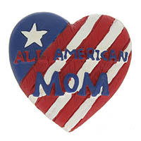 American Mom Pin on USA Flag Heart