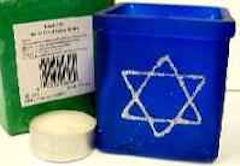 Star of David Yahrzeit Candle, Votive Candle