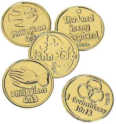 Plastic Golden Bible Coins (Pkg of 144)