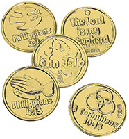 Plastic Golden Bible Coins (Pkg of 144)
