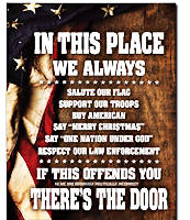 We Always.. Salute Our Flag..etc..If Offends..There's The Door Tin Sign