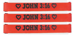 John 3:16 Red Rubber Bracelet Carded (Pack of 24)