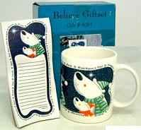 Believe Gift Set includes ceramic mug with magnetic notepad