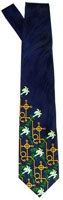 Mens Easter Lily Navy Silk Tie