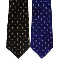Mens Ties - Christian Cross Silk Red Navy