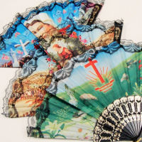 Religious Pictures Lace Fans, Foldable