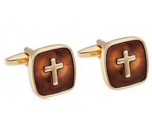 Brown and Gold Cross Cufflinks