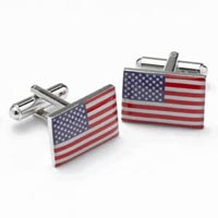 US American Flag Cufflinks Red, White Blue