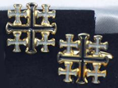 Outline Jerusalem Cross Cufflinks Gold