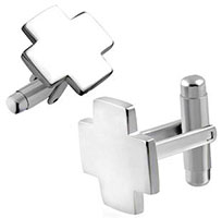 Stainless Steel Cross Cufflinks Silver