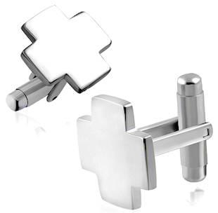 Cross Cufflinks Stainless Steel Silver
