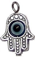 HAMSA Hand of God Charm with Rotating Eye Pewter
