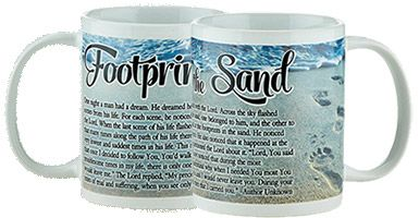 Footprints in the Sand Ceramic Mugs