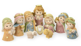 Christmas Nativity Set Resin Yarn, Gold Accents 10 Piece