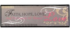 Faith Hope Love Wood Plaque