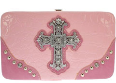 Pink Studded Women's Wallet With Matching Checkbook Cover