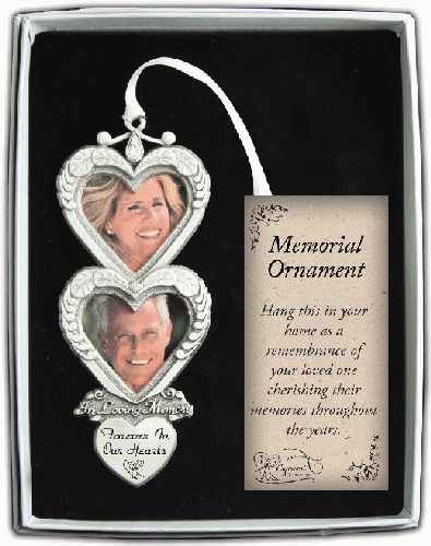 In Loving Memory Double Heart Frame Ornament