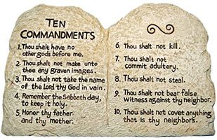 10 Commandments Stone Desk Plaque